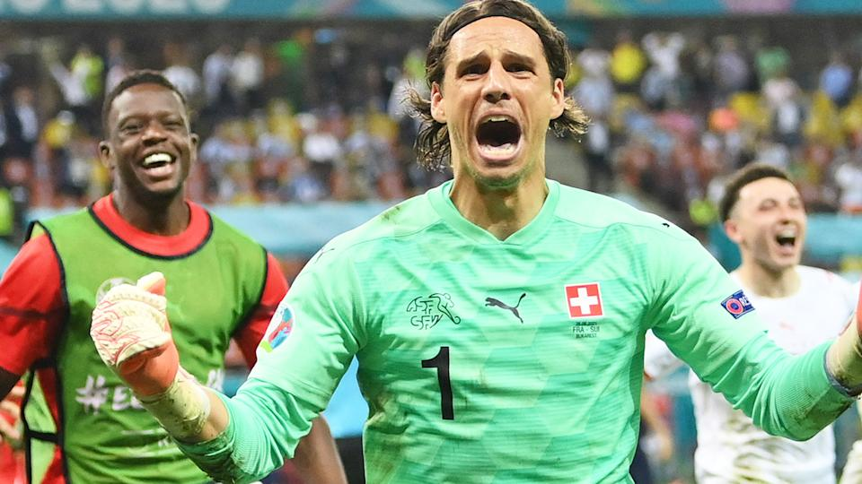 Switzerland's goalkeeper Yann Sommer went wild after his game-saving stop of Kylian Mbappe's penalty.