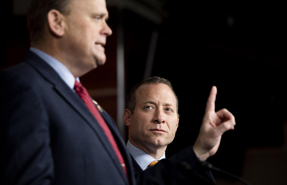 UNITED STATES - FEBRUARY 11: Rep. Josh Gottheimer, D-N.J., listens as Rep. Tom Reed, R-N.Y., speaks during the Problem Solvers Caucus press conference in the Capitol on Tuesday, Feb. 11, 2020. (Photo By Bill Clark/CQ-Roll Call, Inc via Getty Images)