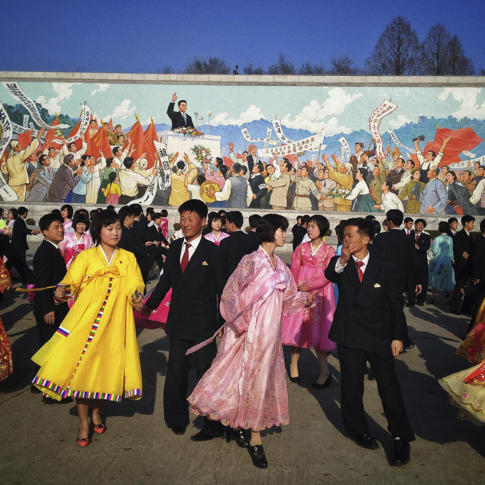 In this April 11, 2013 photo, North Koreans practice traditional folk dancing in Pyongyang, North Korea. (AP Photo/David Guttenfelder)