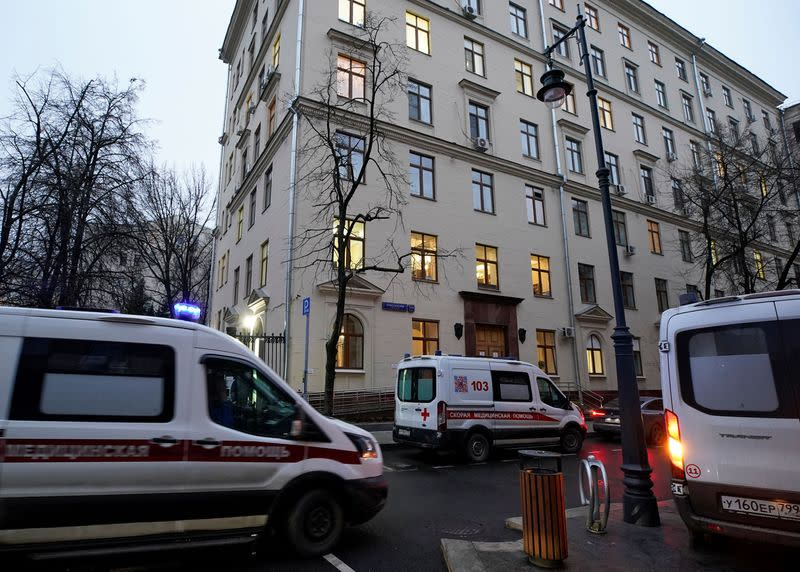 """Ambulances are seen near the CityÊPolyclinic Number 3, where Russia's """"Sputnik V"""" COVID-19 vaccine is being tested in Moscow"""