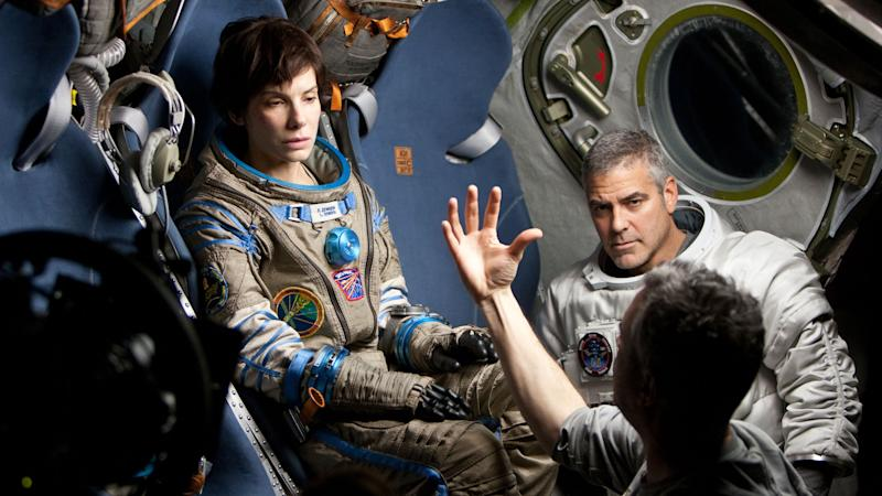 Sandra Bullock and George Clooney on the set of 'Gravity' (Warner Bros.)