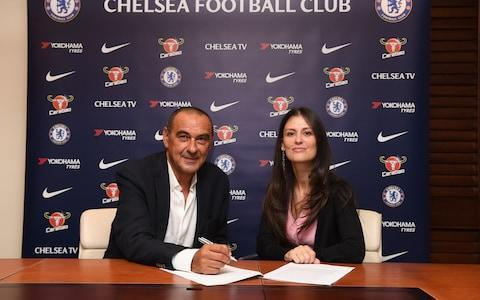 "Maurizio Sarri assured Chelsea he does not hold any homophobic or sexist views ahead of his appointment as new head coach. And Sarri has also been enrolled straight on to an intensive course to improve his English, following his move to Stamford Bridge. Chelsea formally announced the appointment of Sarri, on a three-year contract, and the signing of midfielder Jorginho, on a five-year deal, on Saturday. The news was met positively by Chelsea supporters, despite some concerns over Sarri's past misdemeanors. In 2016, while in charge of Napoli, he was accused of calling then Inter Milan manager Roberto Mancini a ""p***"" and a ""f******"", and was subsequently given a two-game ban and had to pay a €20,000 fine. Maurizio Sarri signing on the dotted line with Chelsea director Marina Granovskaia (right) Credit: getty images At the time, Sarri said: ""I was just irritable... I was not discriminating against anyone. If I did indeed use those words, then I apologise to the gay community."" Sarri was forced to apologise again in March this year for responding to a female reporter's question by saying: ""You're a woman, you're beautiful, for those two reasons I won't tell you to go f*** yourself."" Telegraph Sport understands both incidents came up in negotiations between Sarri and Chelsea, and the 59 year-old was left in no doubt that any similar comments would be deemed completely unacceptable. Sarri assured his new Blues bosses that both sets of comments did not represent his views and that they were ill-judged, and poorly worded. He also promised that they would not be repeated. In order to make sure he can communicate effectively at Chelsea, Sarri will immediately start taking English lessons at least once or twice a week while he prepares for the new season. Maurizio Sarri has been enrolled straight on to an intensive course to improve his English Credit: afp Sarri is said to have a basic level of English, due in part to the time he spent in the country in his previous career as a banker, but he is keen to improve it as quickly as possible. His cigarette habit is another issue that he will have to address, as smoking is banned inside English football stadiums. One player who will have no problem understanding Sarri is Jorginho, who turned down a move to Premier League champions Manchester City, to join Chelsea. Sarri and Jorginho worked together at Napoli, and the 26 year-old said: ""I am absolutely ecstatic to be here at Chelsea. It is not easy to become part of such a big team so I am very, very happy. I am excited to play in such an intense league for a team that gives everything to play and win."""