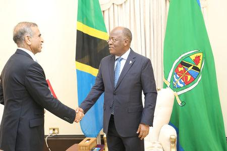 Tanzania's President John Magufuli (R) meets Bharti Airtel's chairman Sunil Mittal at the State House in Dar es Salaam, Tanzania January 11, 2019. Presidential Press Unit/Handout via REUTERS