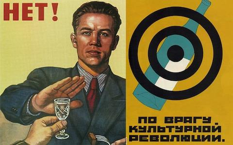 Soviet anti-drinking posters - Credit: GETTY