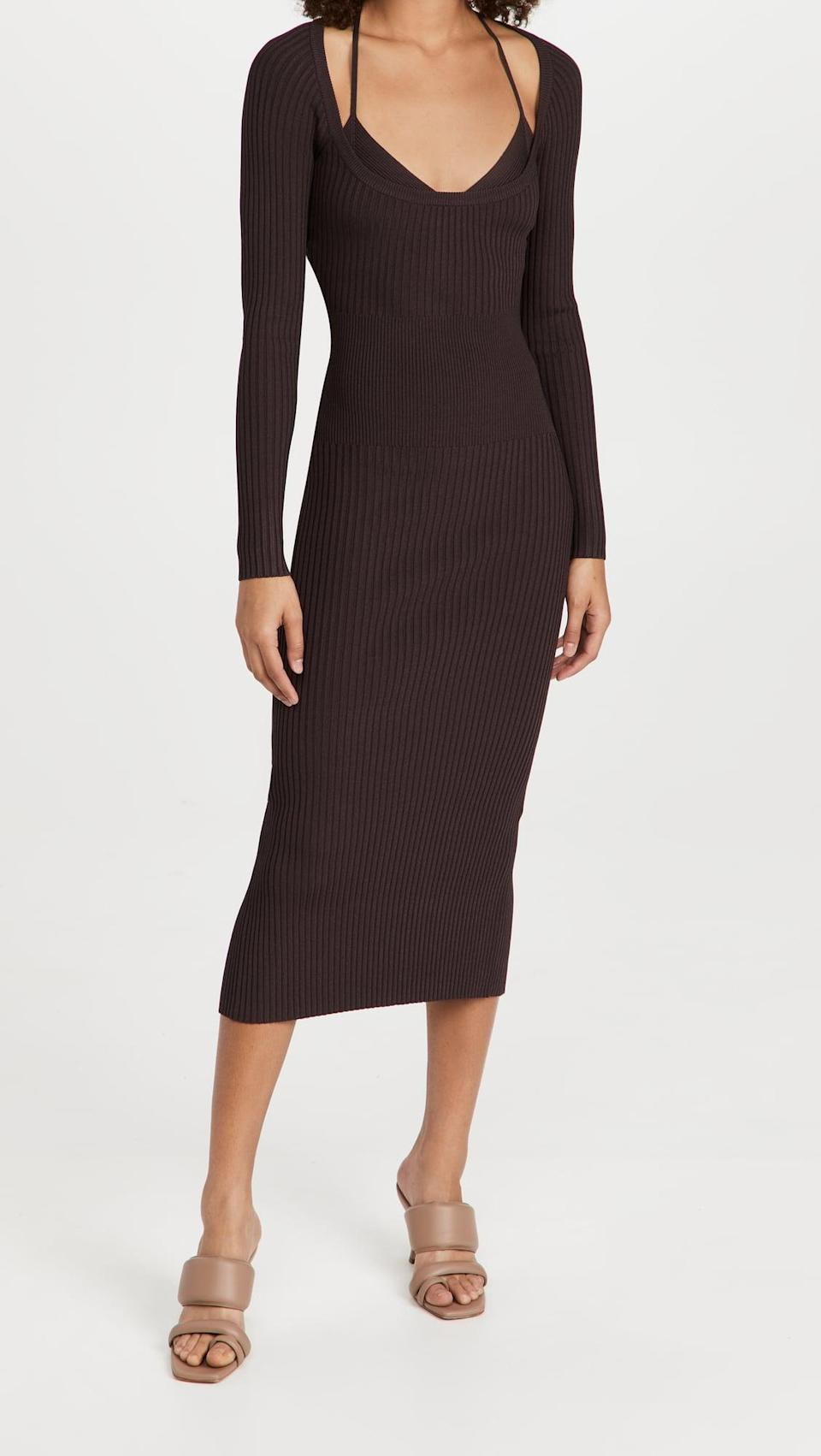 <p>This <span>Jonathan Simkhai Liza Scoop Neck Midi Dress</span> ($495) is super sexy. It comes with the matching strappy bra, which you can wear on it's own as well. It's like buying two pieces in one!</p>