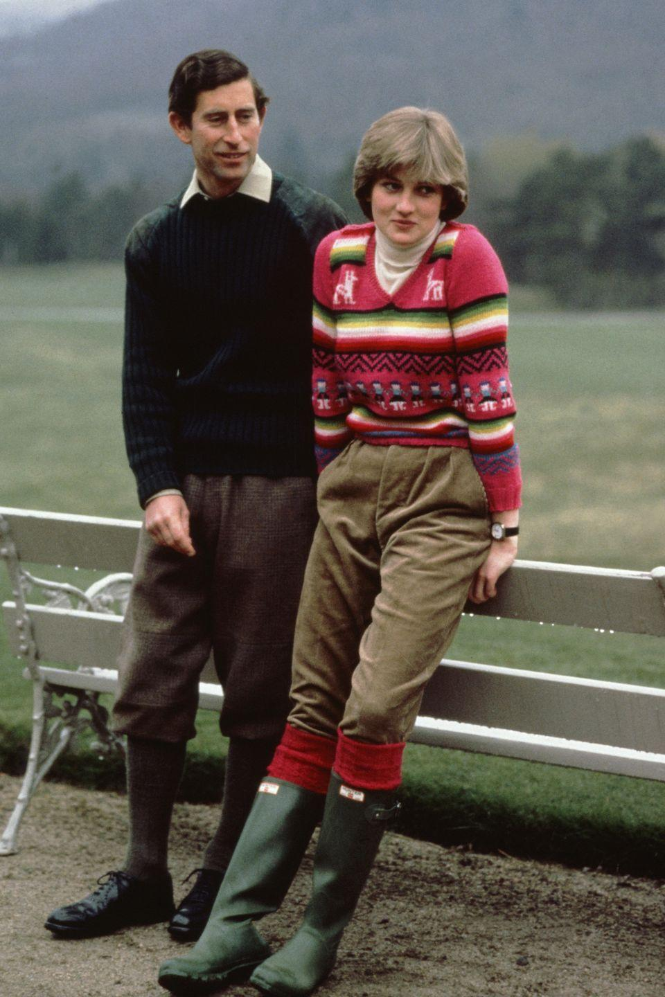 """<p>With a wedding set for July, Lady Diana Spencer kicked back in rubber boots and a casual sweater while at the Scottish royal residence <a href=""""https://www.goodhousekeeping.com/life/news/a44424/queen-william-harry-diana-death/"""" rel=""""nofollow noopener"""" target=""""_blank"""" data-ylk=""""slk:Balmoral"""" class=""""link rapid-noclick-resp"""">Balmoral</a>.</p>"""