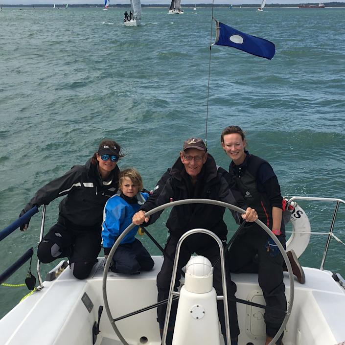 With family members on the Solent