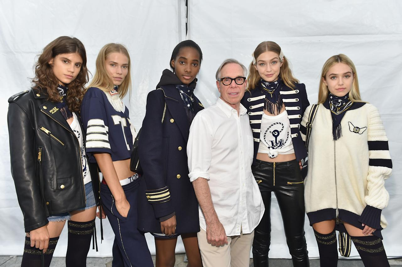 <p>Gigi and Tommy went for a sailor look for their first collab. In fact, 'nautical meets street' was the theme according to the two. Sending out military-style jacket mixed with sporty and rock and roll pieces, the resulting collection cleverly appealed to young girls across the globe.<br /><i>[Photo: Getty]</i> </p>