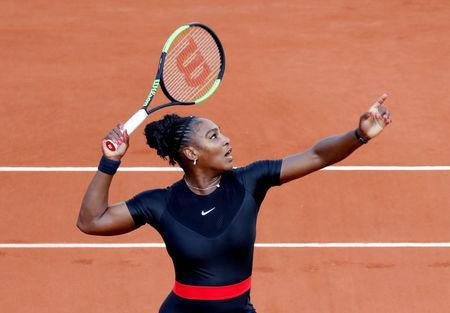 Tennis - French Open - Roland Garros, Paris, France - May 31, 2018 Serena Williams of the U.S. in action during her second round match against Australia's Ashleigh Barty REUTERS/Charles Platiau