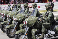 Members of the Taiwan Special Forces attend during National Day celebrations in front of the Presidential Building in Taipei, Taiwan, Sunday, Oct. 10, 2021. (AP Photo/Chiang Ying-ying)