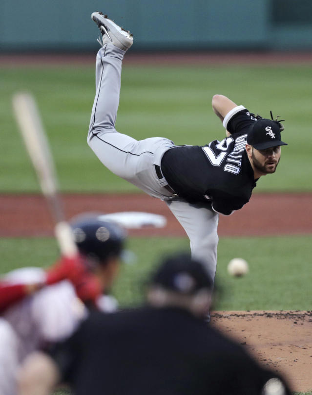 Chicago White Sox starting pitcher Lucas Giolito delivers during the first inning of a baseball game against the Boston Red Sox at Fenway Park in Boston, Monday, June 24, 2019. (AP Photo/Charles Krupa)