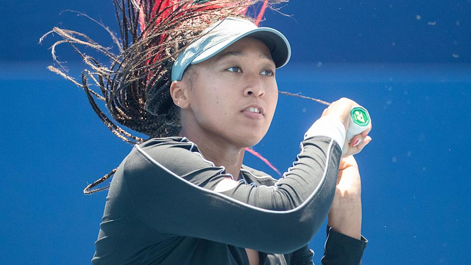 Pictured here, Naomi Osaka trains ahead of her first match at the Tokyo Olympic Games.