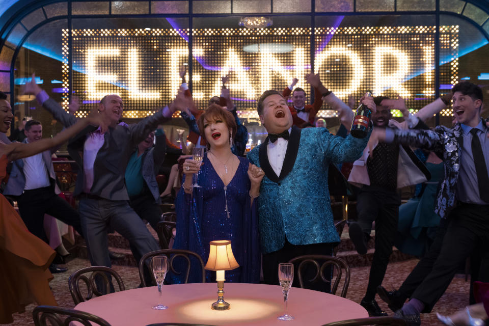 Meryl Streep and James Corden as Dee Dee Allen and Barry Glickman in musical film The Prom on Netflix. (Photo: Netflix)