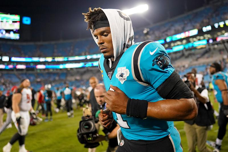 The Cam Newton era with the Panthers is over. (Photo by Jacob Kupferman/Getty Images)