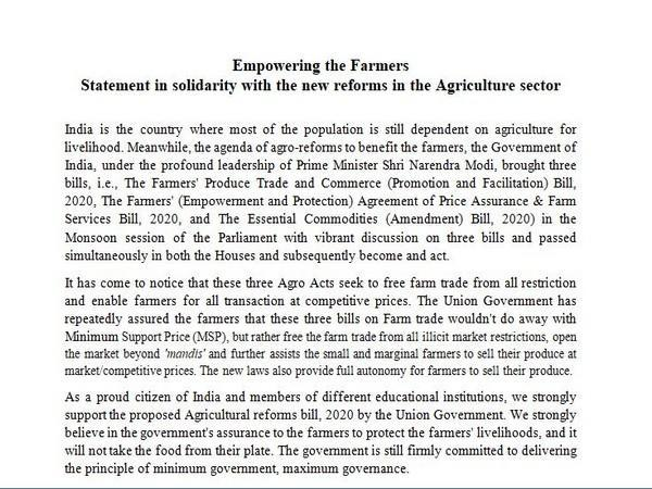 866 academicians wrote a letter of support for newly promulgated farm laws on Friday