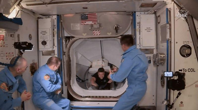 Behnken and Hurley float into the International Space Station on May 31 after riding SpaceX's Crew Dragon spaceship to the orbiting laboratory.