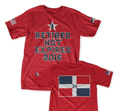 David Ortiz's daughter designed his exclusive T-shirt for her dad's retirement. (Teespring)