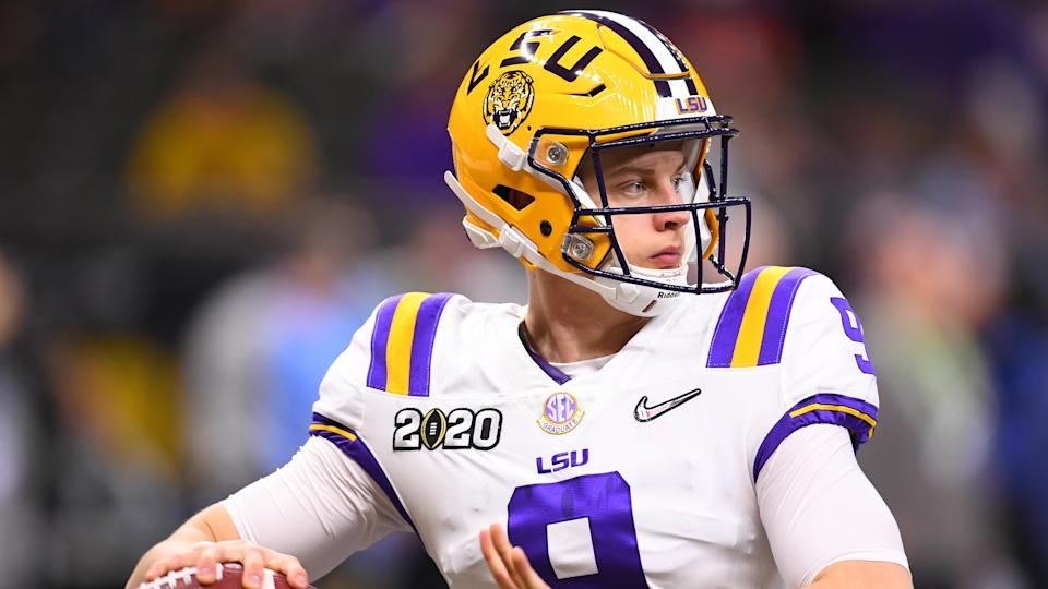 Joe Burrow is waiting for the draft process to finish before he says anything committal about going first overall to the Cincinnati Bengals. (Jamie Schwaberow/Getty Images)
