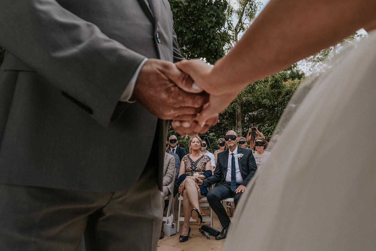 """&ldquo;When we lose one of our senses the others become heightened,&rdquo; officiant Jarrad Bayliss said during the ceremony. &ldquo;Which allows us to experience something as beautiful as these vows in a totally unique way. Today, we get to experience that in Steph&rsquo;s way.&rdquo; (Photo: <a href=""""https://www.jamesday.com.au/"""" rel=""""nofollow noopener"""" target=""""_blank"""" data-ylk=""""slk:James Day Photography"""" class=""""link rapid-noclick-resp"""">James Day Photography</a>)"""