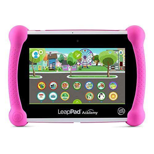 """<p><strong>LeapFrog</strong></p><p>amazon.com</p><p><strong>$110.54</strong></p><p><a href=""""https://www.amazon.com/dp/B07QDG9ZKH?tag=syn-yahoo-20&ascsubtag=%5Bartid%7C10055.g.28772953%5Bsrc%7Cyahoo-us"""" rel=""""nofollow noopener"""" target=""""_blank"""" data-ylk=""""slk:Shop Now"""" class=""""link rapid-noclick-resp"""">Shop Now</a></p><p>This LeapFrog tablet, which comes in pink or green, is a great option if you want to make sure your kids are ready for their next year of school. The educational device comes pre-installed with over 20 apps for kids, with <strong>subjects ranging from reading and writing to math and coding, </strong>and you can also download more games and apps using the Android operating system.</p><p>You also get a three-month free trial of the brand's learning program, also called LeapPad Academy, which features tons of other content. It's built to be super kid-friendly, so you don't have to worry about the screen shattering (especially since it has a bumper and kickstand).</p><p><strong>Storage:</strong> 16 GB<br><strong>Battery life:</strong> up to 7 hours</p>"""