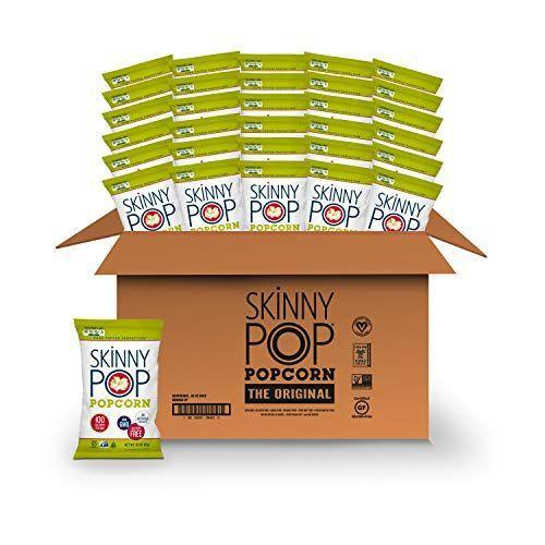 """<p><strong>SkinnyPop</strong></p><p>amazon.com</p><p><strong>$12.30</strong></p><p><a href=""""https://www.amazon.com/dp/B00KE1E7YA?tag=syn-yahoo-20&ascsubtag=%5Bartid%7C2141.g.37871941%5Bsrc%7Cyahoo-us"""" rel=""""nofollow noopener"""" target=""""_blank"""" data-ylk=""""slk:Shop Now"""" class=""""link rapid-noclick-resp"""">Shop Now</a></p><p>These individually-portioned 100 calorie bags of skinny pop are the perfect pick for low-carb movie snacking or to toss into your lunch box. Feel free to spice them up with your favorite toppings, like a spice mix or a touch of parmesan and black pepper for extra flavor. Or dare we suggest mixing in some dark chocolate chips?</p>"""