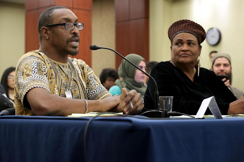 Muhammad Ali Jr and Ms Camacho Ali speaking to members of Congress on Wednesday: Getty Images