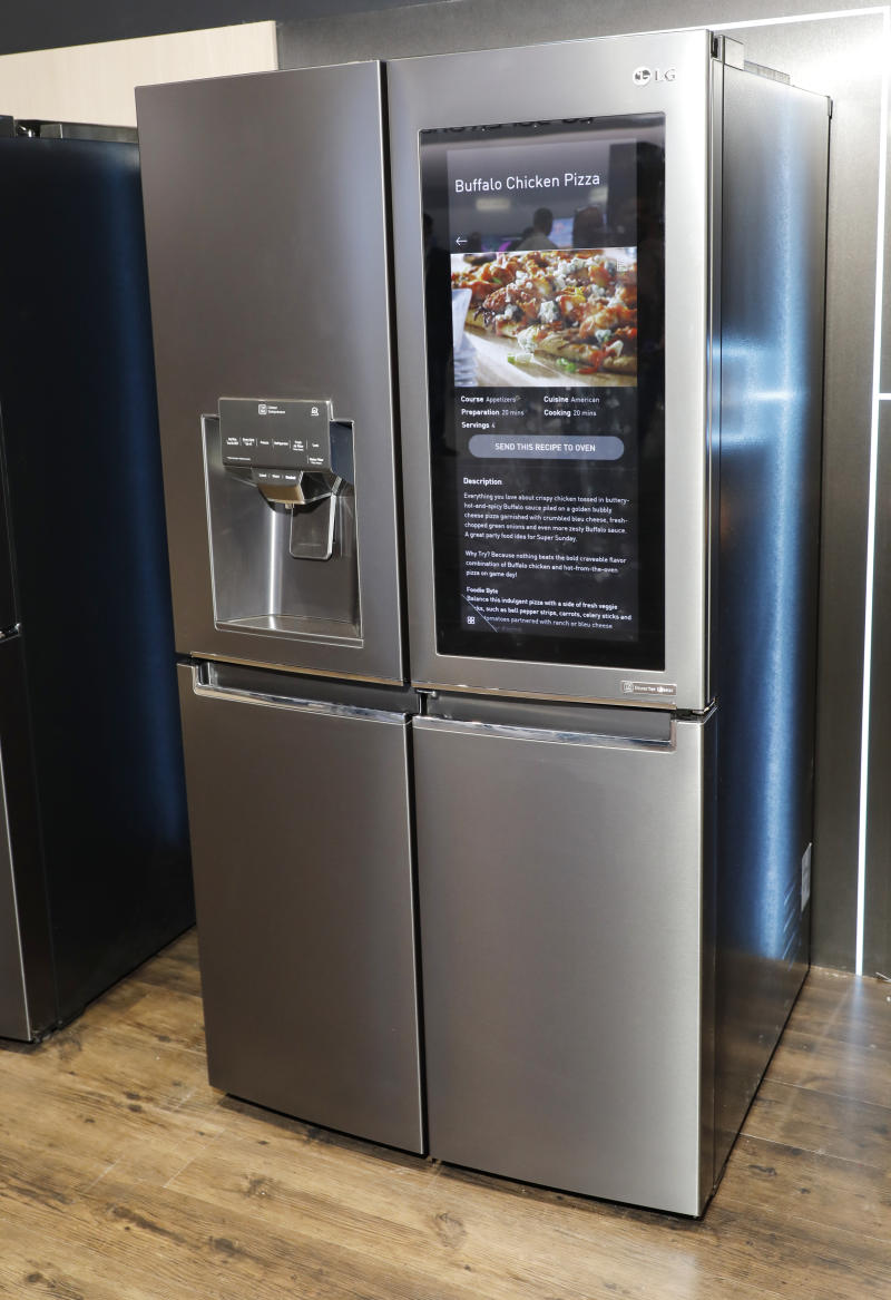 "IMAGE DISTRIBUTED FOR LG ELECTRONICS - CES 2018 attendees can learn more about the LG ThinQ InstaView Refrigerator, the first with Amazon Alexa built-in, that allows consumers to use ""voice control"" to order groceries, stream videos and music, monitor food contents and much more through the refrigerator's built-in touchscreen panel at the LG Electronics booth during 2018 International CES on Monday, Jan. 8, 2018, in Las Vegas. (Jack Dempsey/AP Images for LG Electronics)"