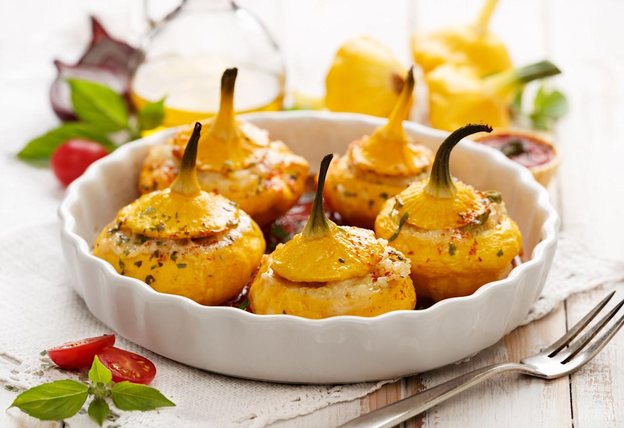 "<p>Have you ever wondered what to do with those delightful little <a href=""https://www.countryliving.com/food-drinks/g4695/winter-squash-recipes/"">squash</a> that look like tiny flying saucers? Here's your answer! Try one of these easy patty pan squash recipes for a <a href=""http://www.countryliving.com/food-drinks/g1921/easy-fall-recipes/"">fall dinner</a> or for your upcoming <a href=""https://www.countryliving.com/food-drinks/g637/thanksgiving-menus/"">Thanksgiving feast</a>. But before you get out your pots, pans, and peelers, you might want a quick refresher on what patty pan squash even <em>is</em> in the first place, if you haven't heard of it before. Here's the lowdown: Patty pan squash is a small, scalloped, round <a href=""https://www.countryliving.com/food-drinks/g4379/summer-squash-recipes/"">summer squash</a>, and it's also just as healthy as it is delicious (particularly when it's <em>stuffed</em> patty pan squash!<em>)</em>. And get this: The name ""patty pan"" is derived from ""a pan for baking a patty."" Who would've guessed? Oh, and don't let the whole ""summer squash"" thing fool you! Patty pan is actually available year-round, so you can throw it in your favorite <a href=""http://www.countryliving.com/food-drinks/g3569/fall-soups/"">fall soup recipes</a> and include it in your <a href=""https://www.countryliving.com/food-drinks/g896/thanksgiving-side-dishes/"">Thanksgiving side dish</a> lineup.</p><p>With a creamy texture and buttery flavor, this delightful squash is also the perfect <a href=""https://www.countryliving.com/food-drinks/g3814/vegetable-side-dishes/"">side dish</a> for your next <a href=""https://www.countryliving.com/entertaining/g1219/fall-dinner-party/"" target=""_blank"">fall dinner party</a>. Whether you opt for a more adventurous recipe (say, a patty pan squash casserole loaded with spicy peppers) or prepare it more traditionally (roasted patty pan squash, anyone?), you and your family won't be disappointed with our top picks. Onwards, squash lovers!</p>"