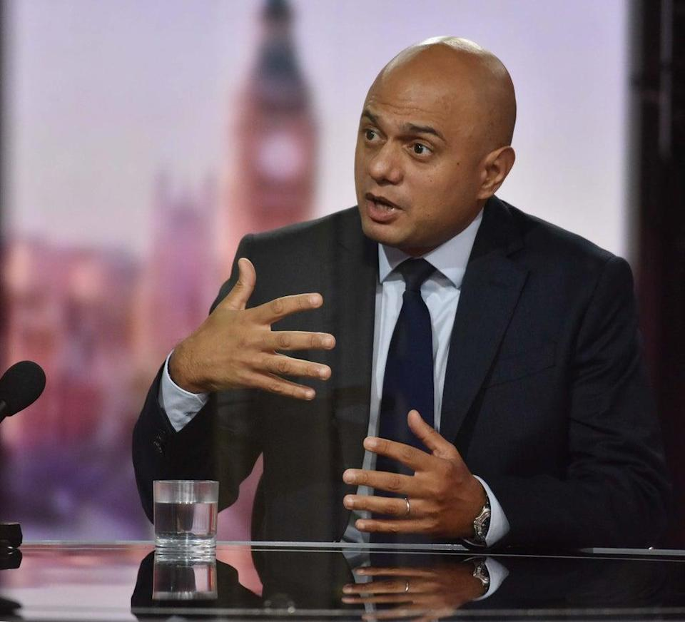 Health Secretary Sajid Javid appearing on BBC1 current affairs programme The Andrew Marr Show (Jeff Overs/BBC/PA) (PA Media)