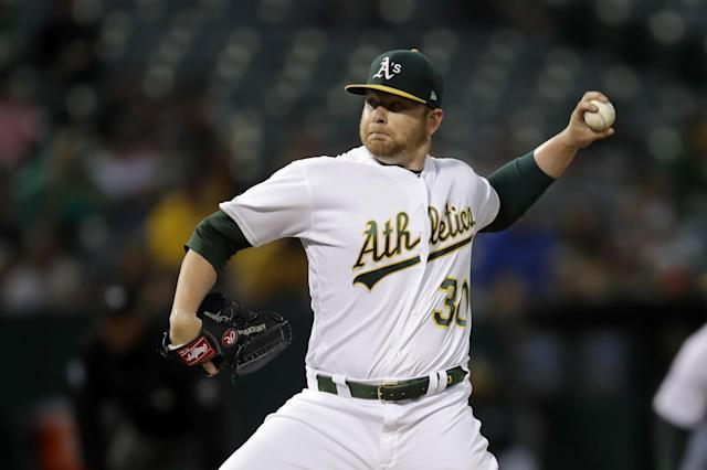 Oakland Athletics pitcher Brett Anderson works against the Kansas City Royals during the first inning of a baseball game Tuesday, Sept. 17, 2019, in Oakland, Calif. (AP Photo/Ben Margot)