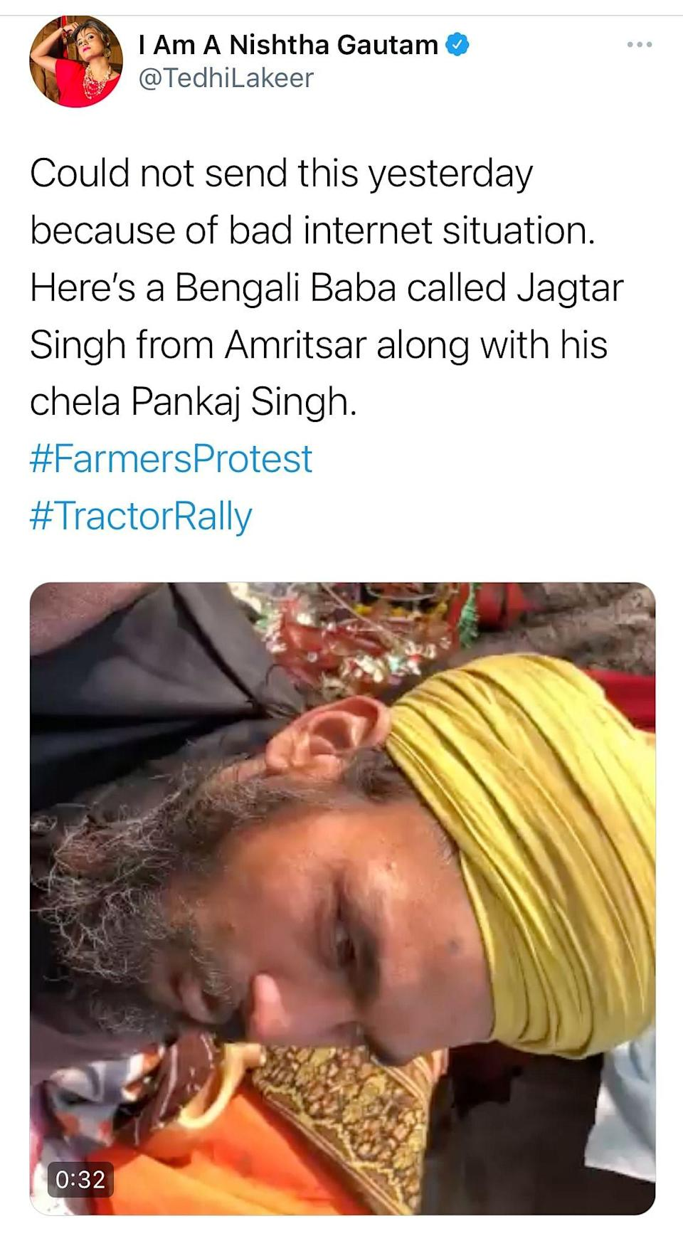 'Bengali' Baba Jagtar Singh from Amritsar shows solidarity with farmers' protests.