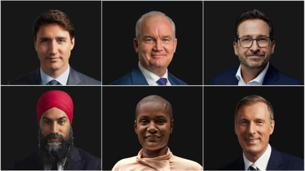 Composite illustration featuring Liberal Leader Justin Trudeau, top left, Conservative Party of Canada Leader Erin O'Toole, top centre, Bloc Québécois Leader Yves-François Blanchet, top right, NDP Leader Jagmeet Singh, bottom left, Green Party Leader Annamie Paul, bottom centre, and People's Party of Canada Leader Maxime Bernier.  (CBC, Erin O'Toole/Creative Commons, CBC, CBC, Chris Young/The Canadian Press, CBC - image credit)