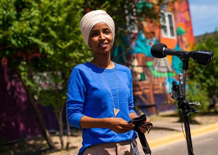 Rep. Ilhan Omar (D-Minn.) addresses reporters in Minneapolis on Tuesday. Antone Melton-Meaux gave her an unexpectedly tough challenge in the state's Democratic primary election. (Photo: Stephen Maturen/Getty Images)