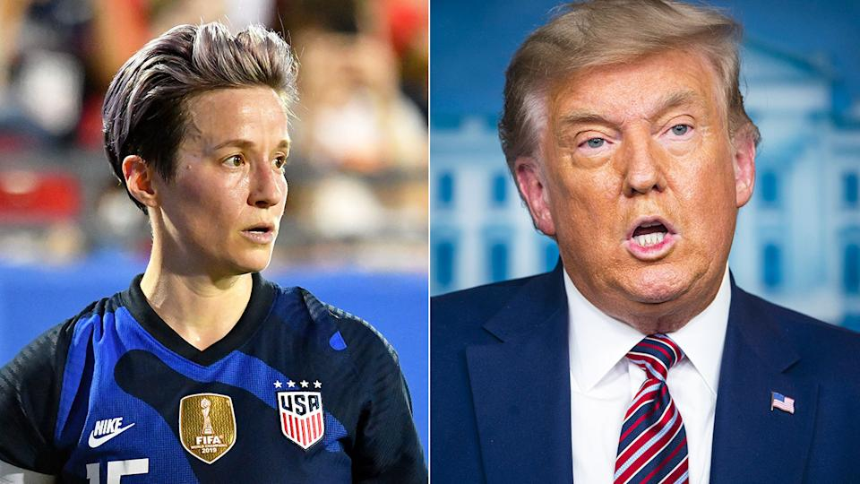 Pictured here, US soccer star Megan Rapinoe and US President Donald Trump.