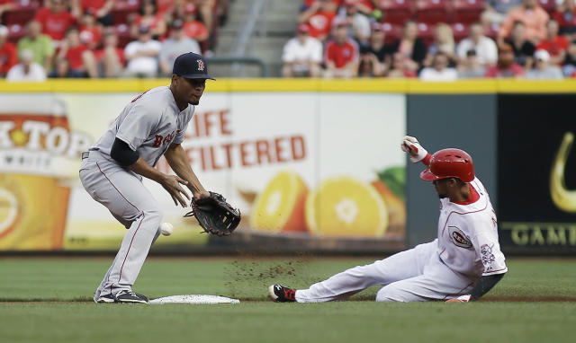 Cincinnati Reds' Billy Hamilton, right, steals second base and advanced to third as the ball gets away from Boston Red Sox shortstop Xander Bogaerts in the first inning of a baseball game, Tuesday, Aug. 12, 2014, in Cincinnati. (AP Photo/Tony Tribble)