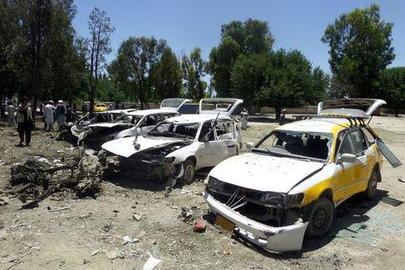 Damaged vehicles are seen after a suicide car bomb attack in Khost province, Afghanistan May 27, 2017. REUTERS/Stringer