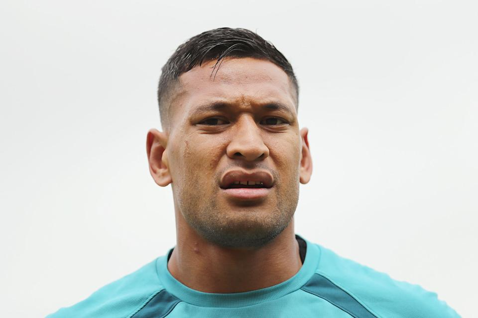 SYDNEY, AUSTRALIA - OCTOBER 26:  Israel Folau looks on during the Australian Wallabies training session at Leichhardt Oval on October 26, 2017 in Sydney, Australia.  (Photo by Mark Metcalfe/Getty Images)