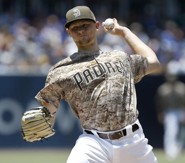 San Diego Padres starting pitcher Eric Lauer delivers to a Chicago Cubs batter during the first inning of a baseball game in San Diego, Sunday, July 15, 2018. (AP Photo/Alex Gallardo)