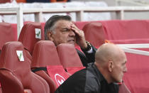 West Bromwich Albion's manager Sam Allardyce reacts during the English Premier League soccer match between Arsenal and West Bromwich Albion at the Emirates Stadium in London, England, Sunday, May 9, 2021. (Andy Rain/ Pool via AP)