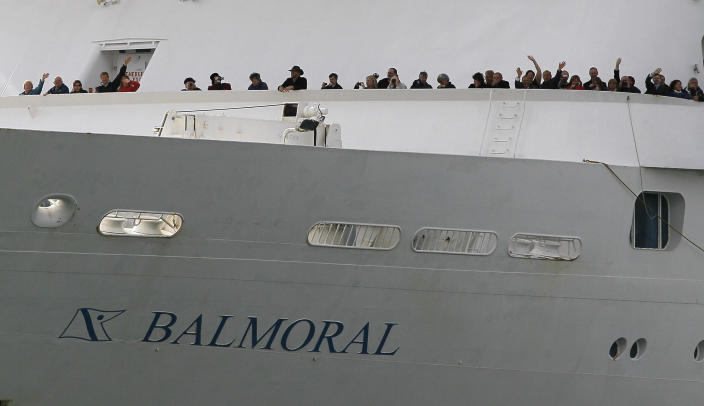 The MS Balmoral sets sail for the Titanic memorial cruise from Southampton, England, Sunday, April 8, 2012. Nearly 100 years after the Titanic went down, a cruise with the same number of passengers aboard is setting sail to retrace the ship's voyage, including a visit to the location where it sank. The Titanic Memorial Cruise is set to depart Sunday from Southampton, where the Titanic left on its maiden voyage. The 12-night cruise will commemorate the 100th anniversary of the sinking of the White Star liner. With 1,309 passengers aboard, the MS Balmoral will follow the same route as the Titanic. Organizers are trying to recreate the onboard experience minus the disaster from the food to a band playing music from that era. Organizers said people from 28 countries have booked passage, including relatives of some of the more than 1,500 people who died when the Titanic collided with an iceberg and sank on April 15, 1912.(AP Photo/Alastair Grant)