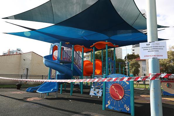 A view of a closed children's playground on Langley Park in Perth with signage advising 'Closed Due To Covid-19'.