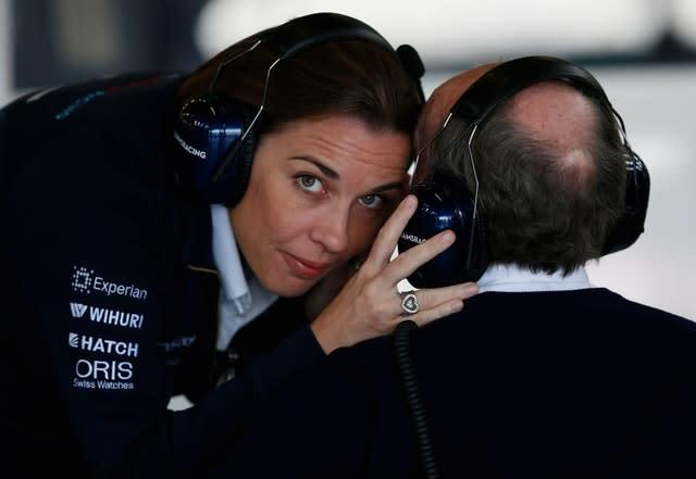 Claire Williams chats with her father Sir Frank Williams (David Davies/PA)