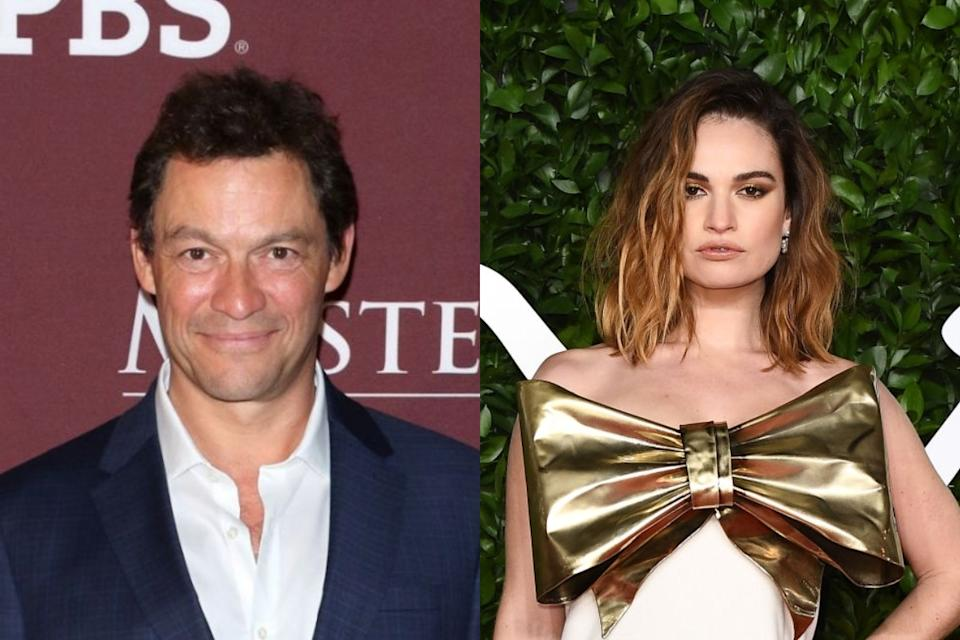 Dominic West y Lily James. (Foto: Jim Spellman / Jeff Spicer / Getty Images)