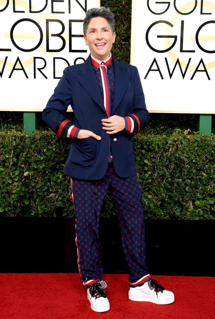 BEVERLY HILLS, CA - JANUARY 08: 74th ANNUAL GOLDEN GLOBE AWARDS -- Pictured: Director Jill Soloway arrives to the 74th Annual Golden Globe Awards held at the Beverly Hilton Hotel on January 8, 2017. (Photo: Kevork Djansezian/NBC/NBCU Photo Bank via Getty Images)
