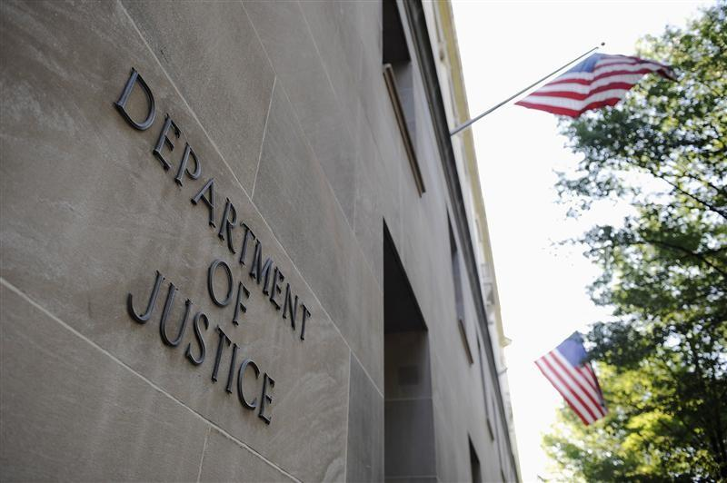 The exterior of the U.S. Department of Justice headquarters building in Washington