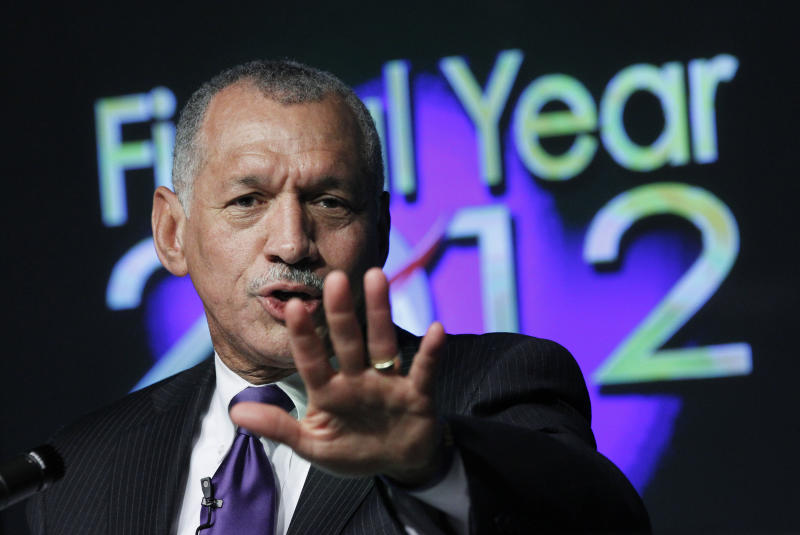 National Aeronautics and Space Administration (NASA) Administrator Charles Bolden, speaks about NASA's Fiscal Year 2012 Budget during a news conference at the NASA headquarters in Washington, Monday, Feb. 14, 2011.  (AP Photo/Manuel Balce Ceneta)