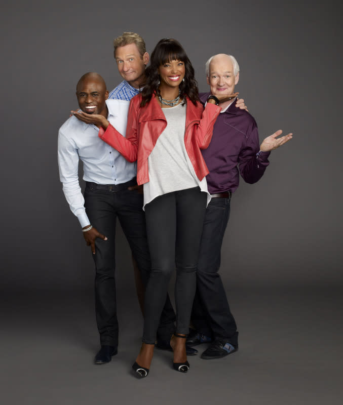 Whose Line is it Anyway -- Image WL1_Group4_0074 -- Pictured (L-R): Wayne Brady, Ryan Stiles, Aisha Tyler, and Colin Mochrie -- Photo: JSquared/The CW -- © 2013 The CW Network, LLC. All Rights Reserved