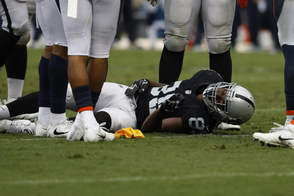 Raiders wide receiver Amari Cooper took a nasty hit on Sunday against the Seattle Seahawks that sent him to the locker room. (Getty Images)