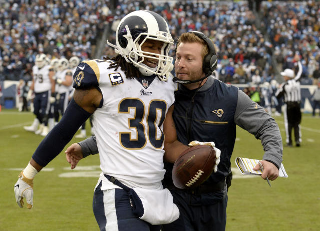 Rams running back Todd Gurley is congratulated by coach Sean McVay after Gurley scoring a touchdown against the Titans. (AP)