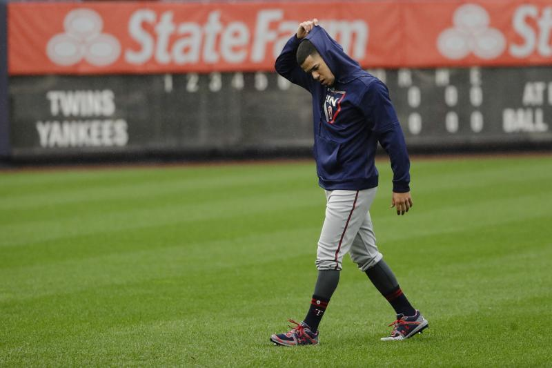 Minnesota Twins starting pitcher Jose Berrios walks the field Thursday, Oct. 3, 2019, at Yankee Stadium in New York. The New York Yankees will host the Twins in the first game of an American League Division Series on Friday. (AP Photo/Frank Franklin II)